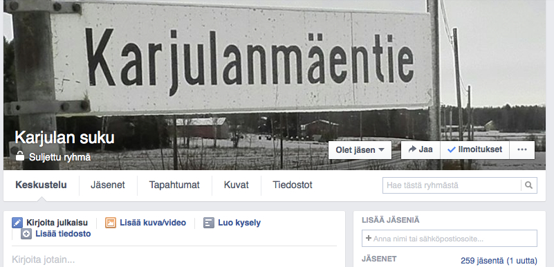Karjulan suvun facebook-ryhmässä lähes 300 jäsentä – liity sinäkin!