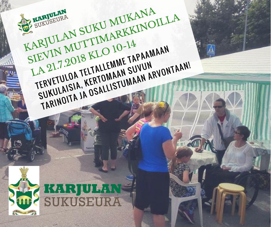 Karjulan suvulla teltta Sievin Muttimarkkinoilla la 21.7.2018