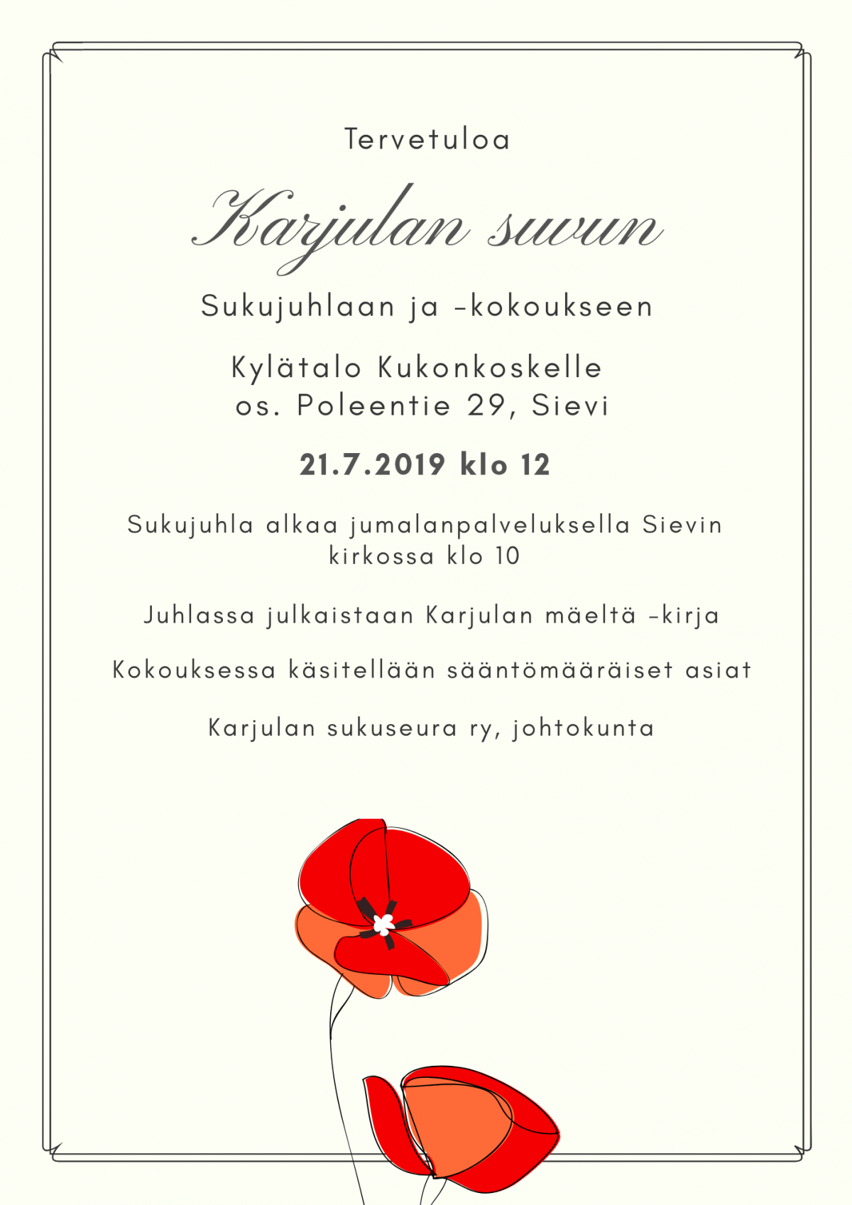 Tervetuloa sukujuhlaan Sieviin 21.7.2019